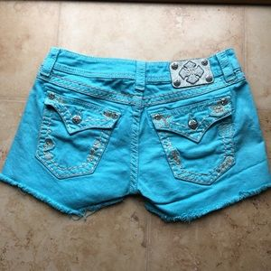 Miss Me Aqua Shorts